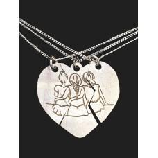 Colier Argint 3 Prietene / 3 Surori / mama si fiice