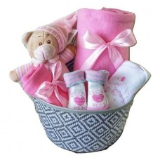 Cos Cadou Baby Shower cu Balon It`s A Girl, 8 Piese