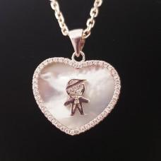 Colier Argint Inima cu Sidef - Dragostea de copil
