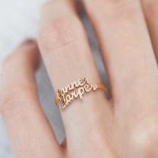 Inel cu 2 nume din Argint placat cu Aur Rose