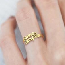 Inel cu 2 nume din Argint placat cu Aur Gold
