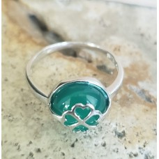 Inel Argint 925, Piatra Verde cu Trifoi