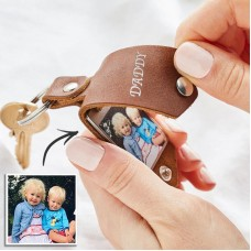 Breloc Personalizat Foto + Gravare - Piele si Otel inoxidabil